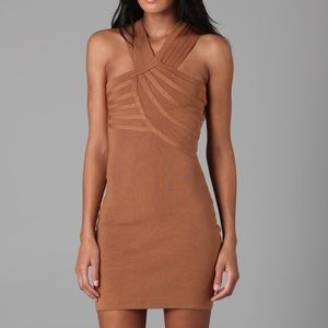 Halston Heritage Knit Cross Front Dress in Camel